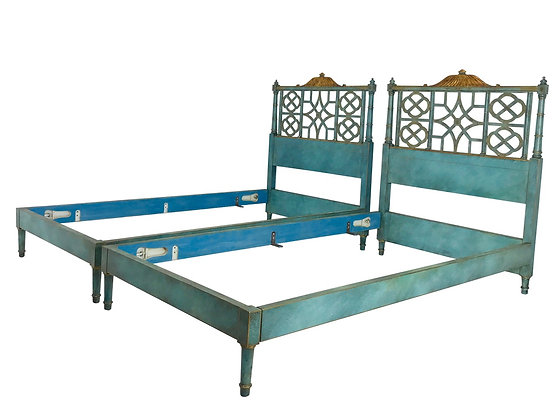 #3889 Pair Twin Kittinger Chinoiserie Pagoda Bed Frames