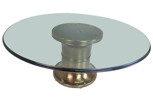 #1626 Brass Pedestal Coffee Table by Mastercraft
