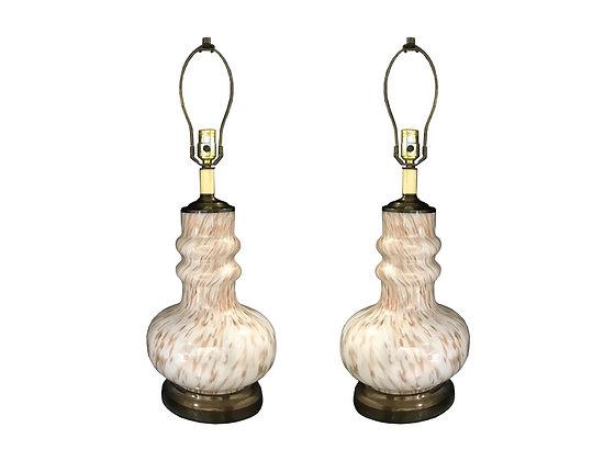 #3316 Pair White & Gold Fleck Dino Martens Lamps