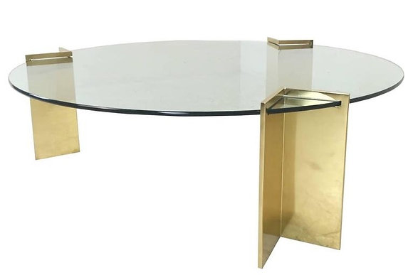 #1801 Pace Brass & Glass Round Coffee Table