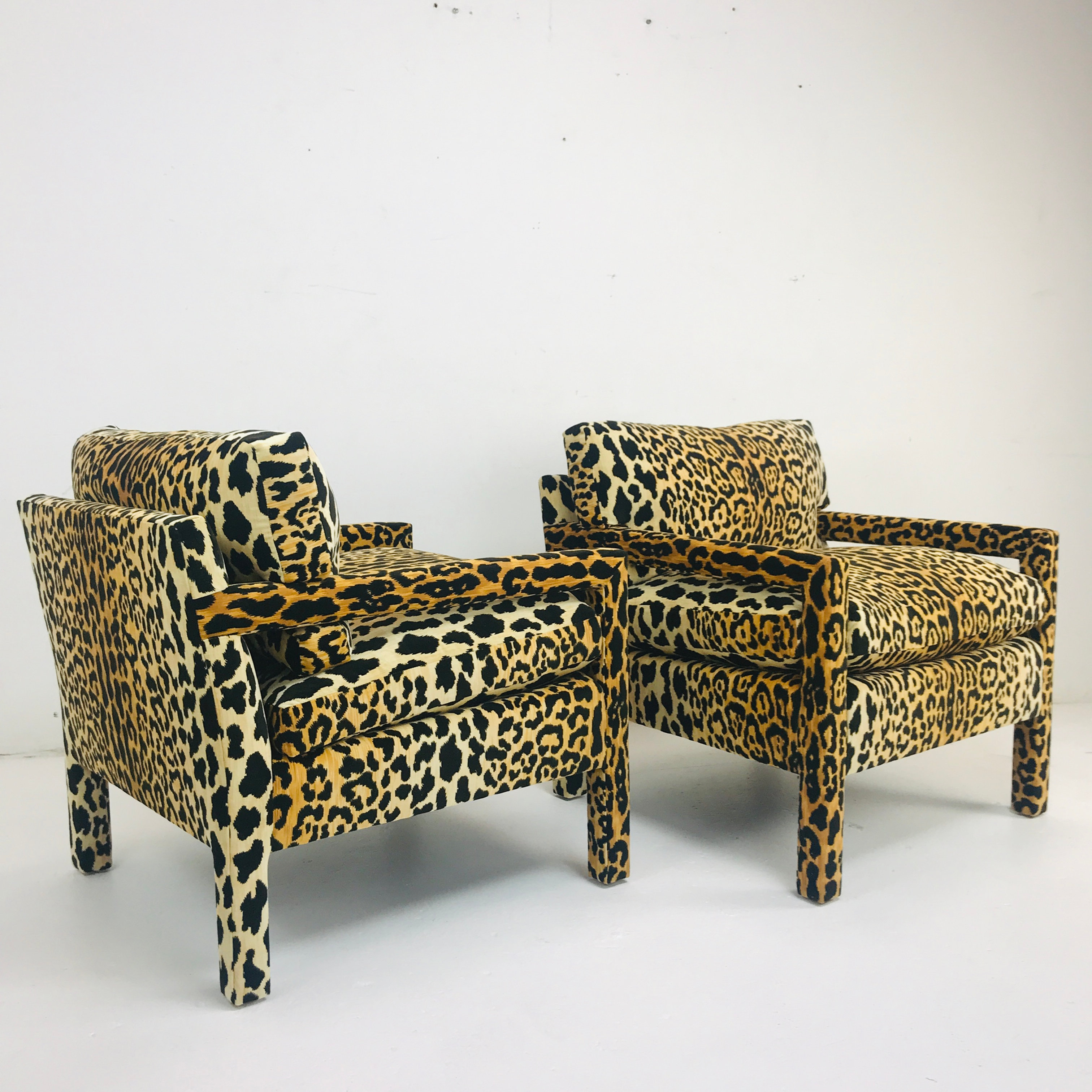 521 Pair Of Custom Leopard Parson Chairs In The Style Of Milo Baughman