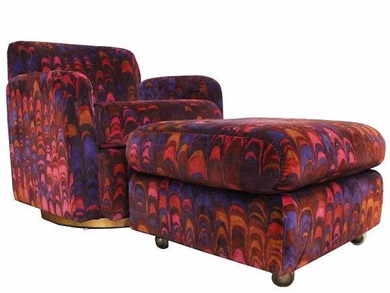 #1144 Swivel Chair & Ottoman by Milo Baughman