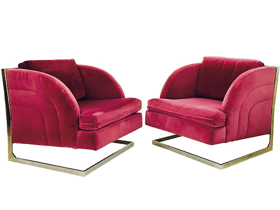 #799 Pair 1970s Disco Cantilever Chairs