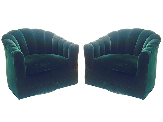 #2168 Pr Milo Dark Green Velvet Channel Chairs