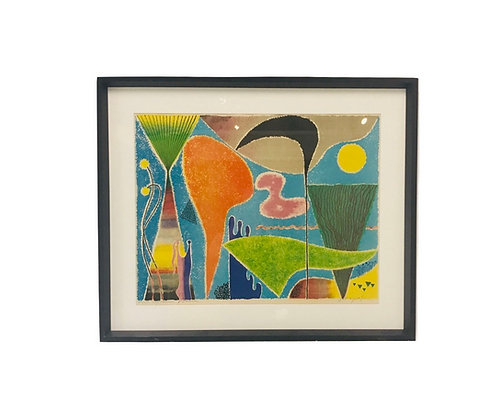 #4614 Orange & Turquoise Abstract Print