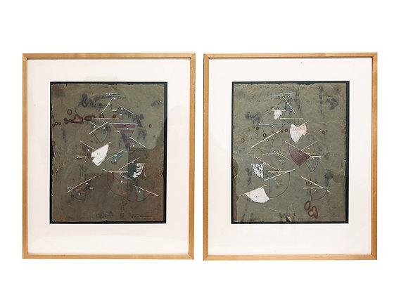 #844 Pair of Asian Paper Art