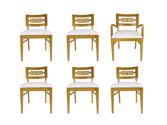#931 Set of 6 Greek Key Dining Chairs