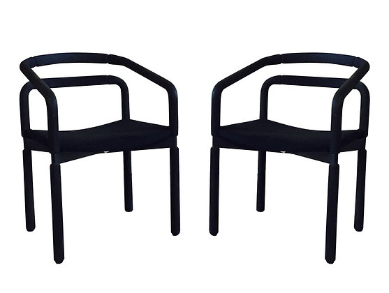 #2492 Pair Black Modern Kitchen Chairs