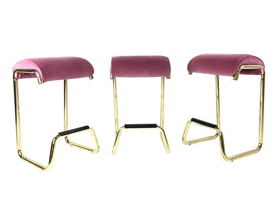 2620 Set of Three Pink & Brass Barstools