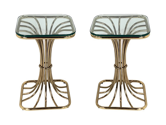 #3358 Pair of Brass Wheat Side Tables