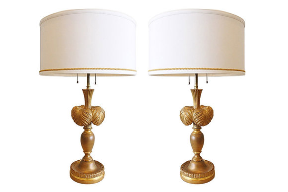 #3500 Pair of Gilt Plume Lamps by Frederick Cooper