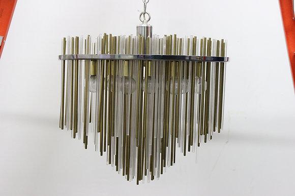 #689 Brass & Lucite Rod Chandelier