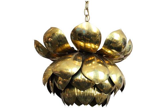 #2362 Medium Brass Lotus Pendant by Feldman
