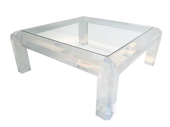 #1972 Lucite & Glass Coffee Table