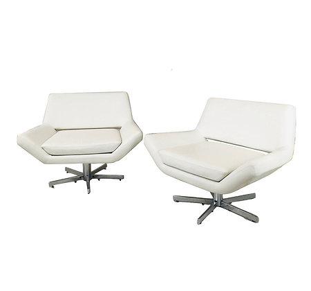 #5384 Pair of Modern White Swivel Chairs