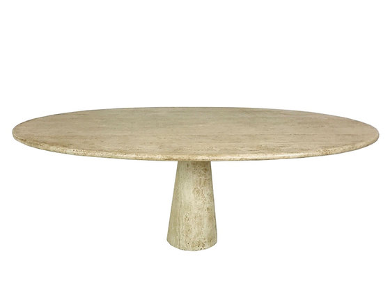 #4176 Angelo Mangiarotti Style Travertine Marble Oval Dining Table