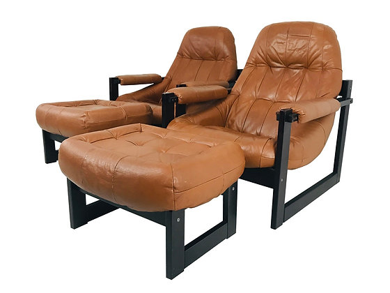 #3998 Pair of Percival Lafer Leather & Wood Chairs & Ottomans