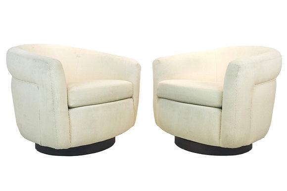 #1770 Pair Cream Milo Baughman Swivel Chairs