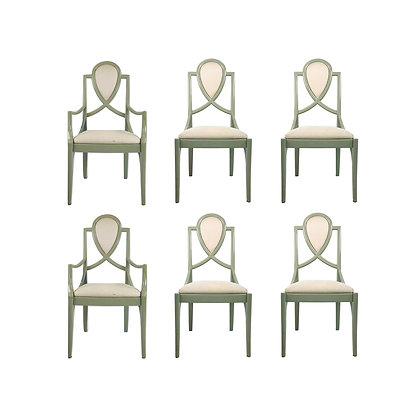 #5493 Set of 6 Lacquered 1980s Dining Chairs