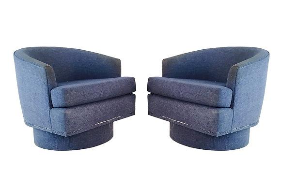 #1900 Pair Blue Denim Color Swivel Chairs
