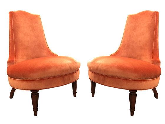 #3351 Pair Orange Velvet Regency Slipper Chairs