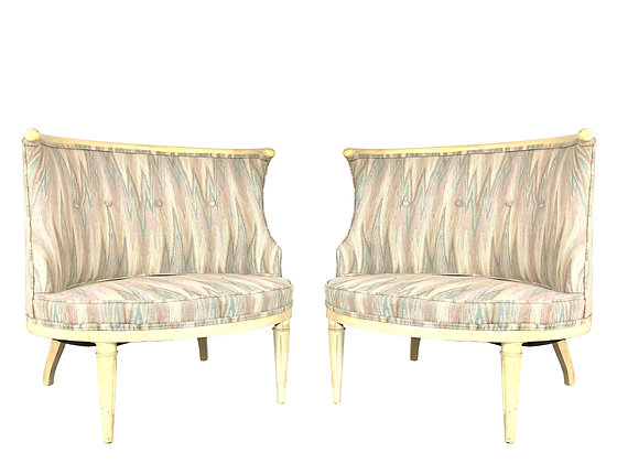 #3818 Pair Barrel Back Wood Wrapped Chairs