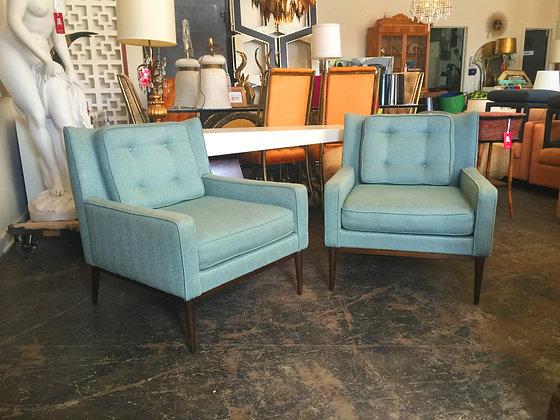 #991 Pair Blue Paul McCobb Lounge Chairs