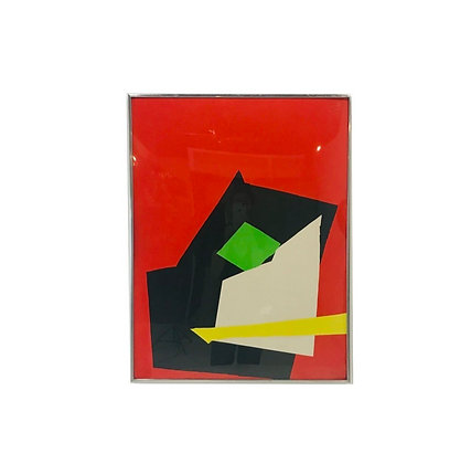 #4613 Red Abstract Print