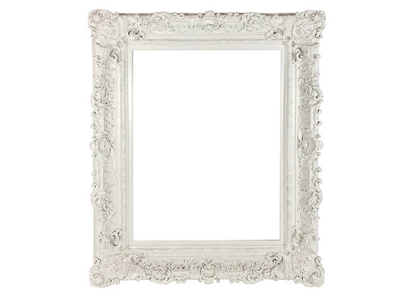 #4031 Carved Ornate White Picture Frame