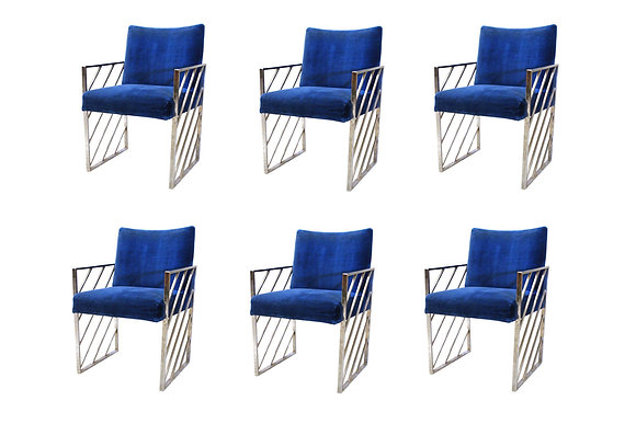 #8177 Set of 6 Chrome Dining Chairs style of Milo