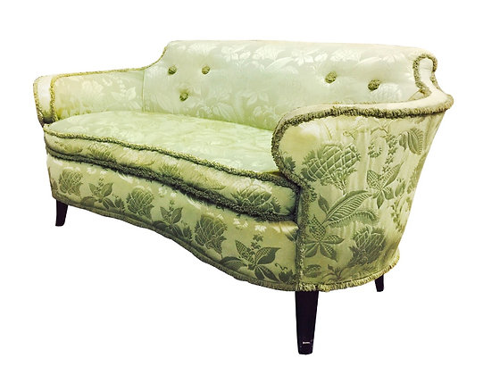 #2689 Green Curved Arm Settee