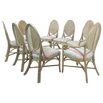 #4292 Set 8 McGuire Dining Chairs