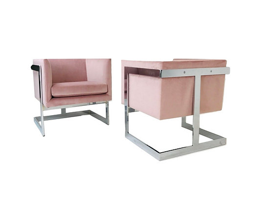 #4095 Pair of Milo Baughman Floating Cube T-Back Lounge Chairs