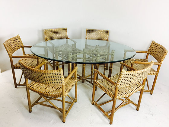 #2894 Set Of 6 McGuire Rattan Chairs