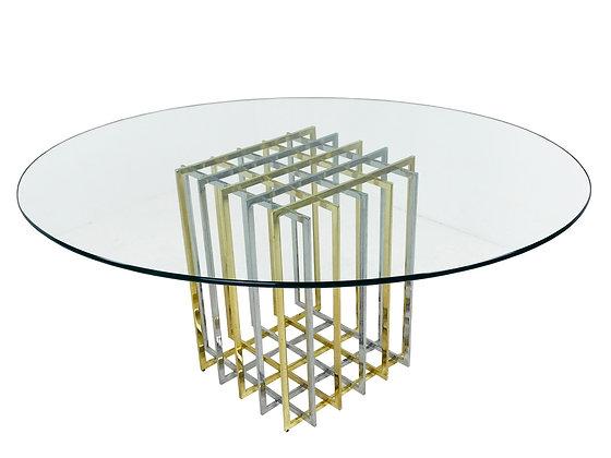 #3870 Oval Glass Top Pierre Cardin Grid Table