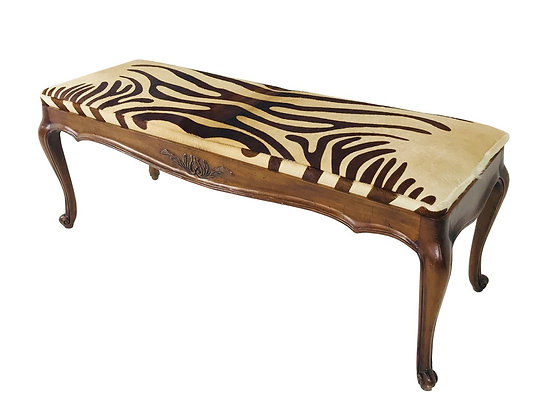 #3622 Hair on Hide French Bench with Zebra Print