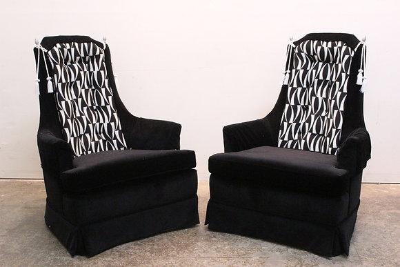 #1382 Pair Black & White High Back Regency Chairs