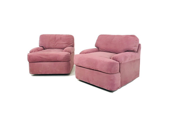 #4799 Pair Mauve 80's Armchairs by Directional
