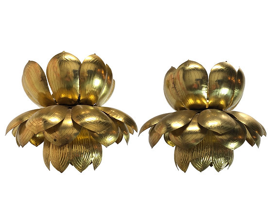 #1569 Pair of Brass Large Lotus Pendants