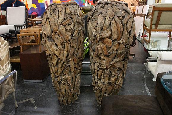 #937 Pair Tall Driftwood Vases