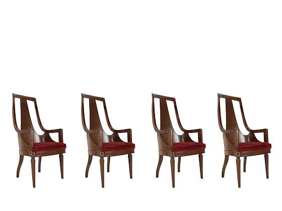 #4104 Set of 4 Tall Back Walnut Armchairs