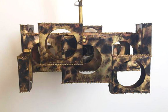 #1006 Cubist Brutalist Chandelier by Feldman