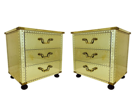 #2946 Pair of Brass Sarreid Side Tables / Nightstands