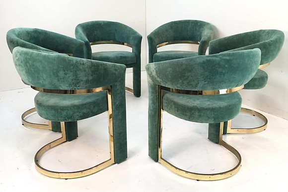 #1658 Set of 6 Green/Brass Dining Chairs