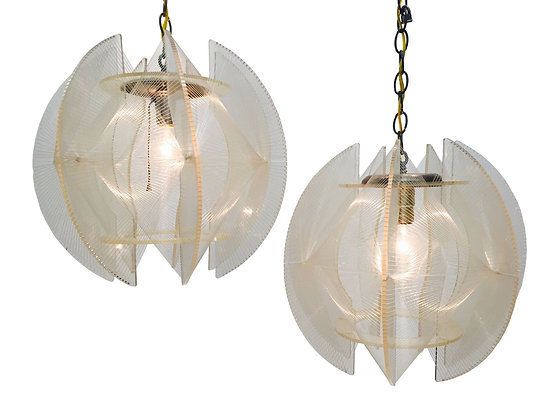 #2805 Pair Lucite & Nylon String Pendants by Paul Secon for Sompex