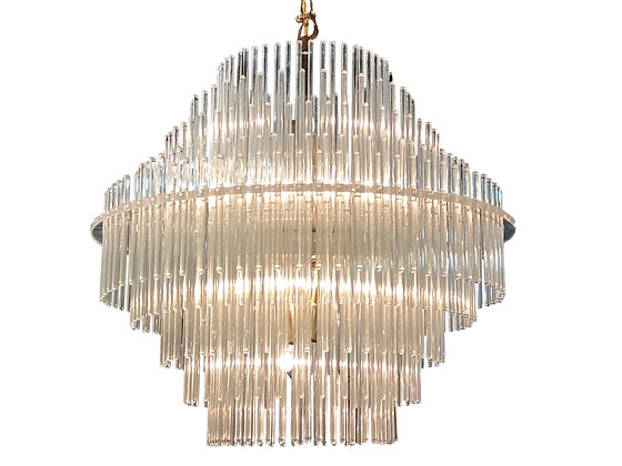 #3342 Five Tier Glass Rod Chandelier by Sciolari for Lightolier
