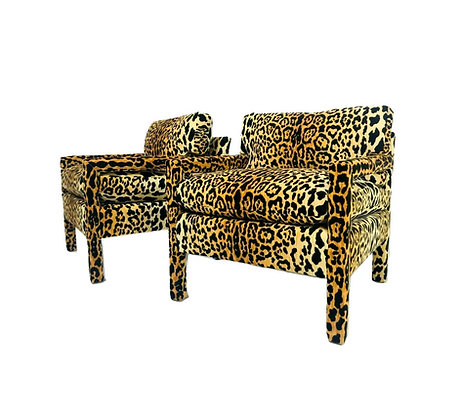 #521 Pair of Custom Leopard Parson Chairs in the Style of Milo Baughman