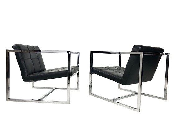 #4090 Milo Baughman Style Chrome Cube Lounge Chairs