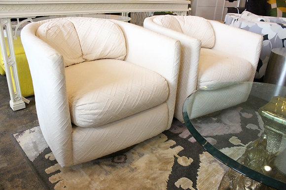 8808 Pair White Swivel Chairs