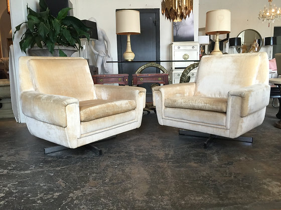 #1239 Pair Cubist Swivel Lounge Chairs